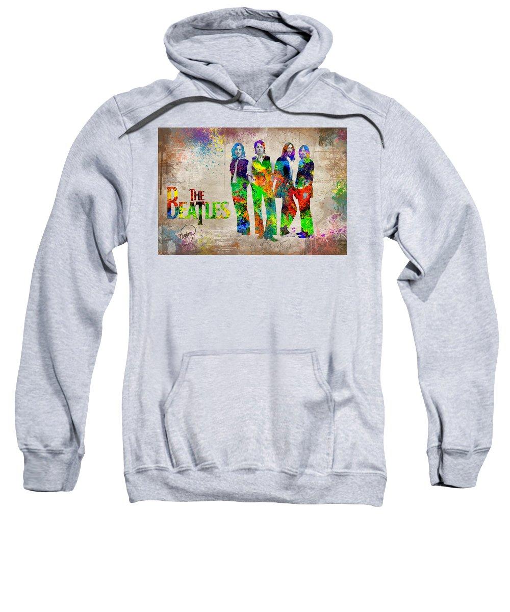Beatles Revolution Sweatshirt featuring the digital art The Beatles by Patricia Lintner