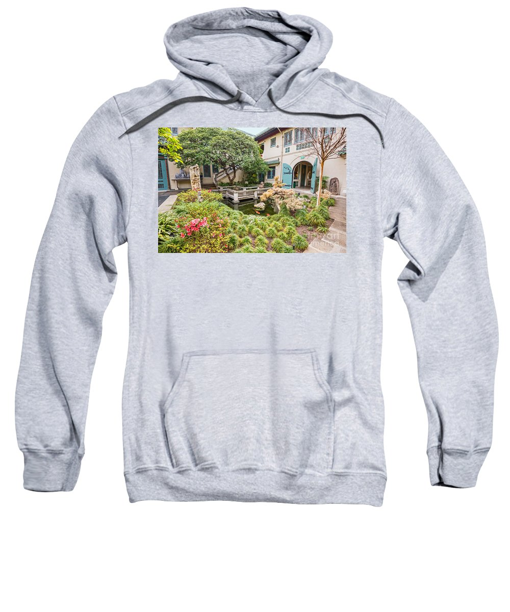 Usc Pacific Asia Museum Sweatshirt featuring the photograph The Beautiful Courtyard Of The Pacific Asia Museum In Pasadena. by Jamie Pham