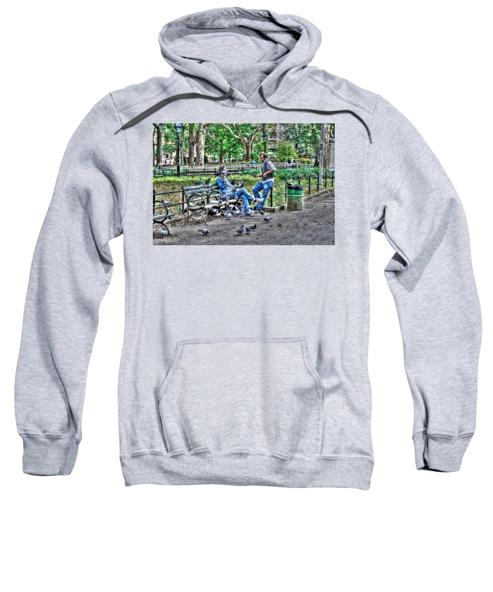 Washington Square Park Sweatshirt featuring the photograph The Bird Whisperer by Randy Aveille