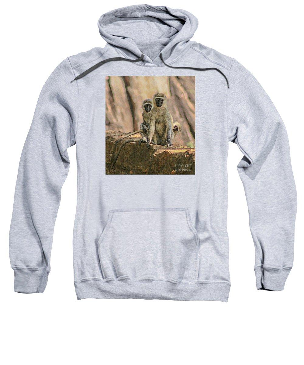Buffalo Springs Sweatshirt featuring the digital art The Black-faced Vervet Monkey by Liz Leyden