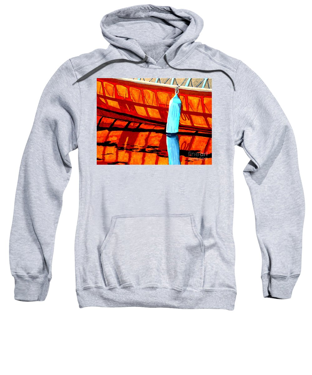 Canoe Sweatshirt featuring the painting The Blue Fender by Anthony Dunphy