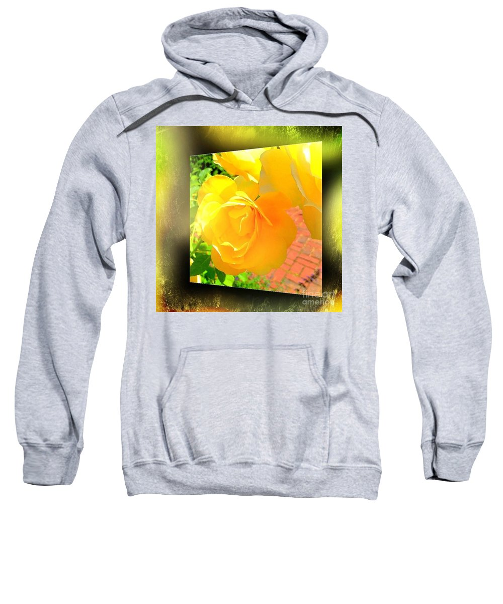 Blushing Sweatshirt featuring the photograph The Blushing Yellow Rose by Becky Lupe
