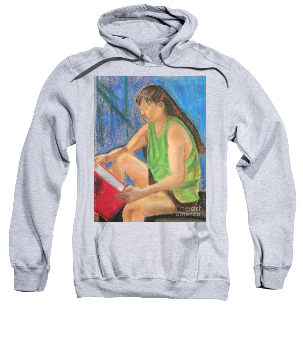 Girl Sweatshirt featuring the pastel The Book Worm by Cori Solomon