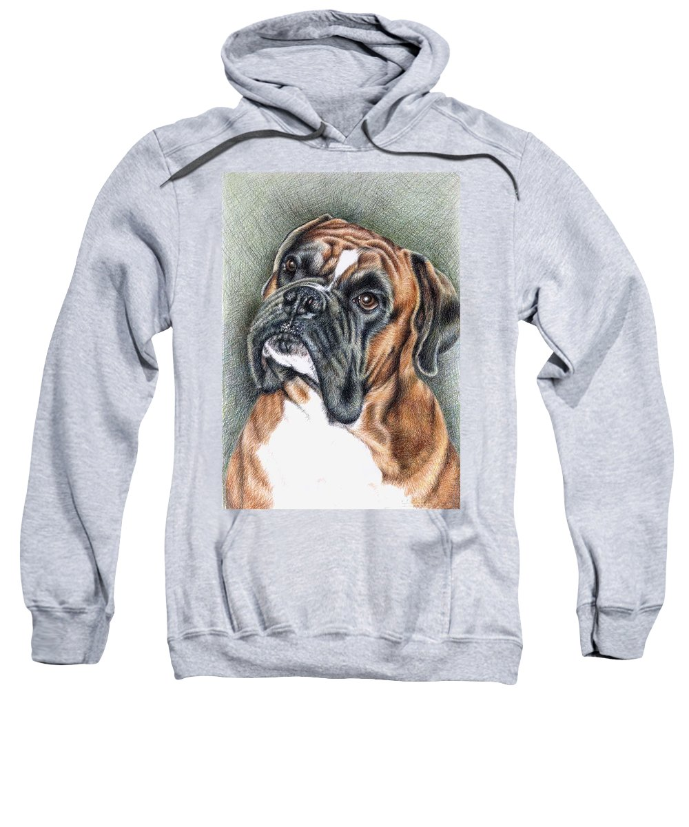 Dog Sweatshirt featuring the drawing The Boxer by Nicole Zeug