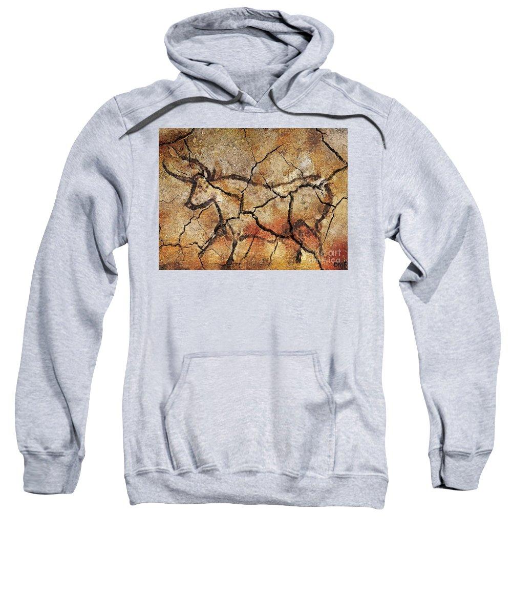 Cave Sweatshirt featuring the digital art The Bull by Dragica Micki Fortuna