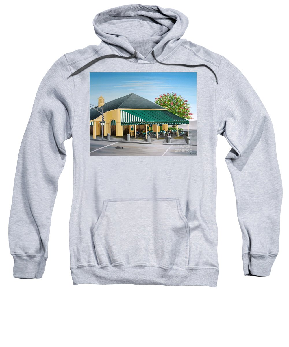 Cafe Du Monde Sweatshirt featuring the painting The Cafe by Valerie Carpenter