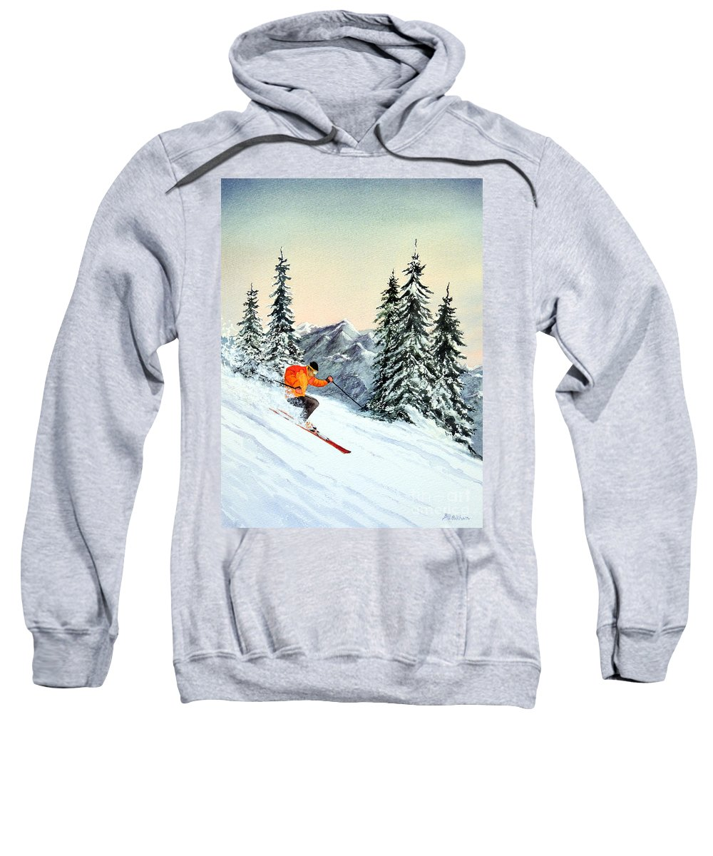 Skiing Sweatshirt featuring the painting The Clear Leader by Bill Holkham