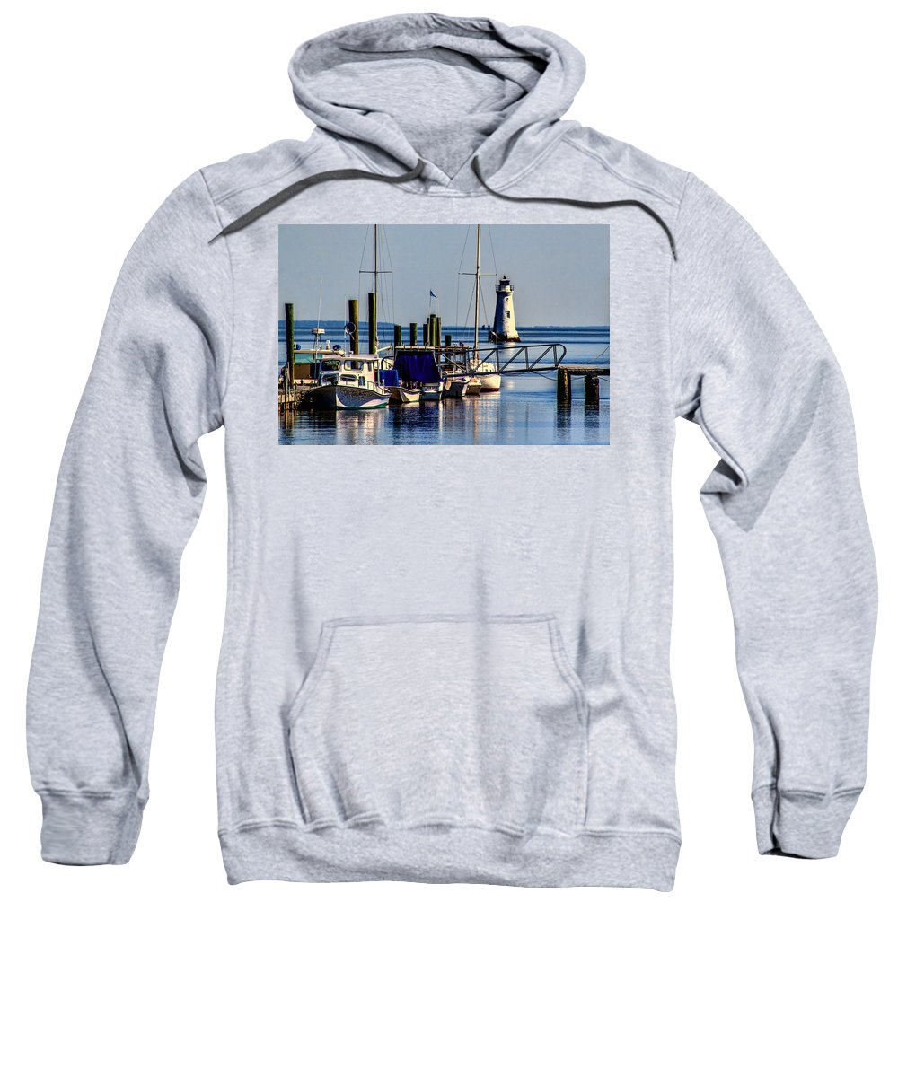 The Cockspur Lighthouse Sweatshirt featuring the photograph The Cockspur Lighthouse by Diana Powell