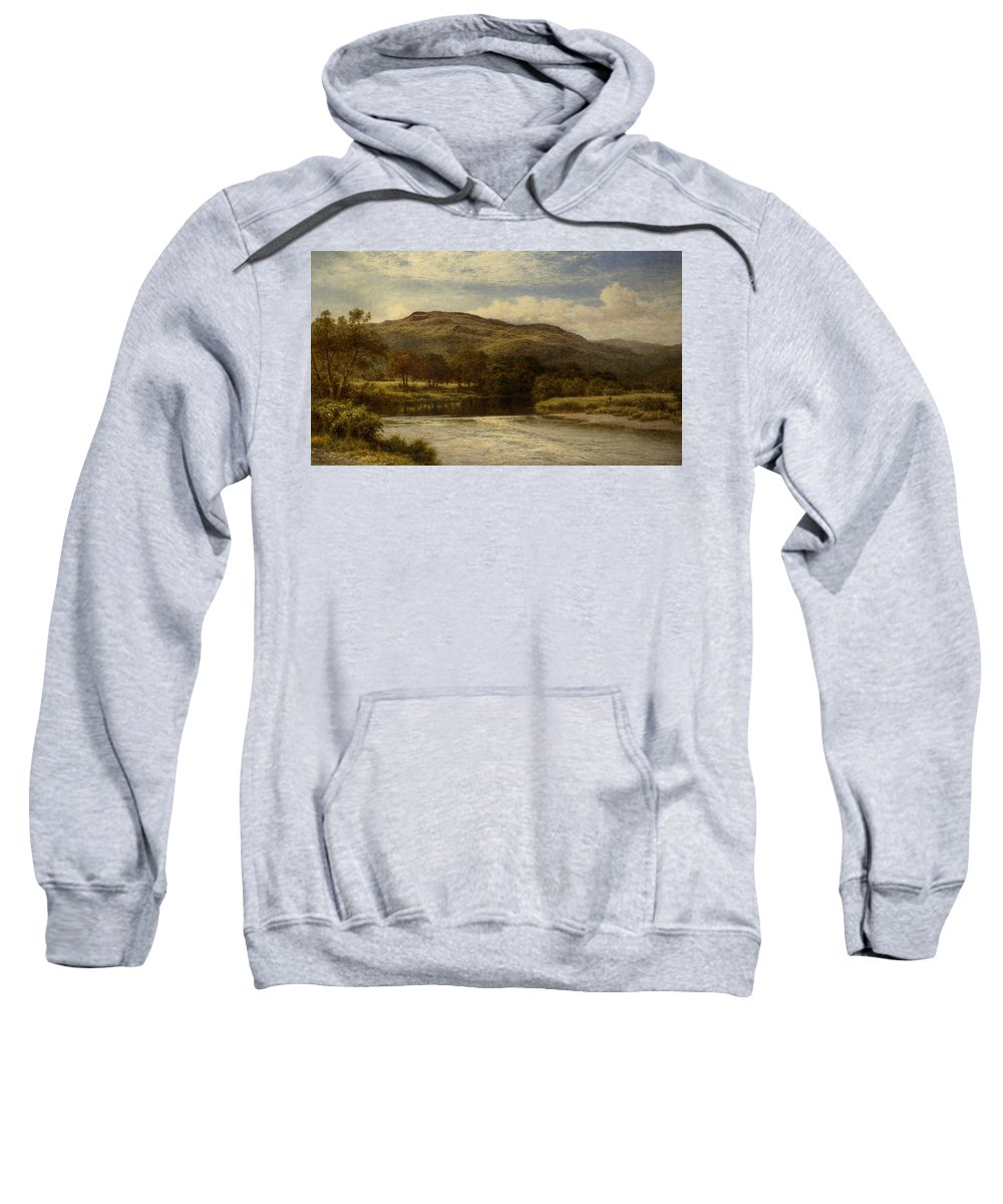 Benjamin Williams Leader Sweatshirt featuring the digital art The Conway Near Bettws Y Coed by Benjamin Williams Leader