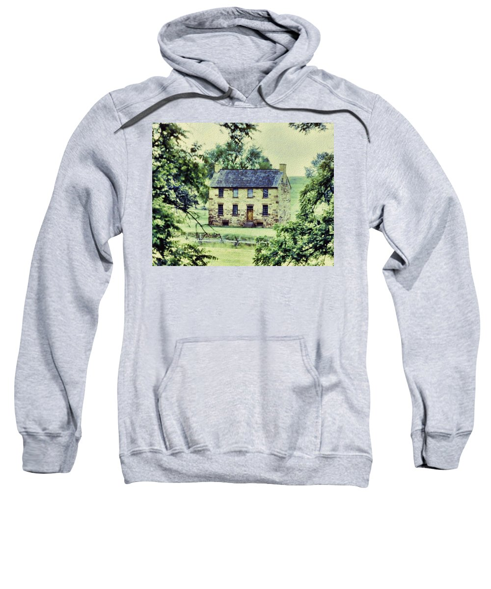 Sweatshirt featuring the digital art The Cottage by Cathy Anderson