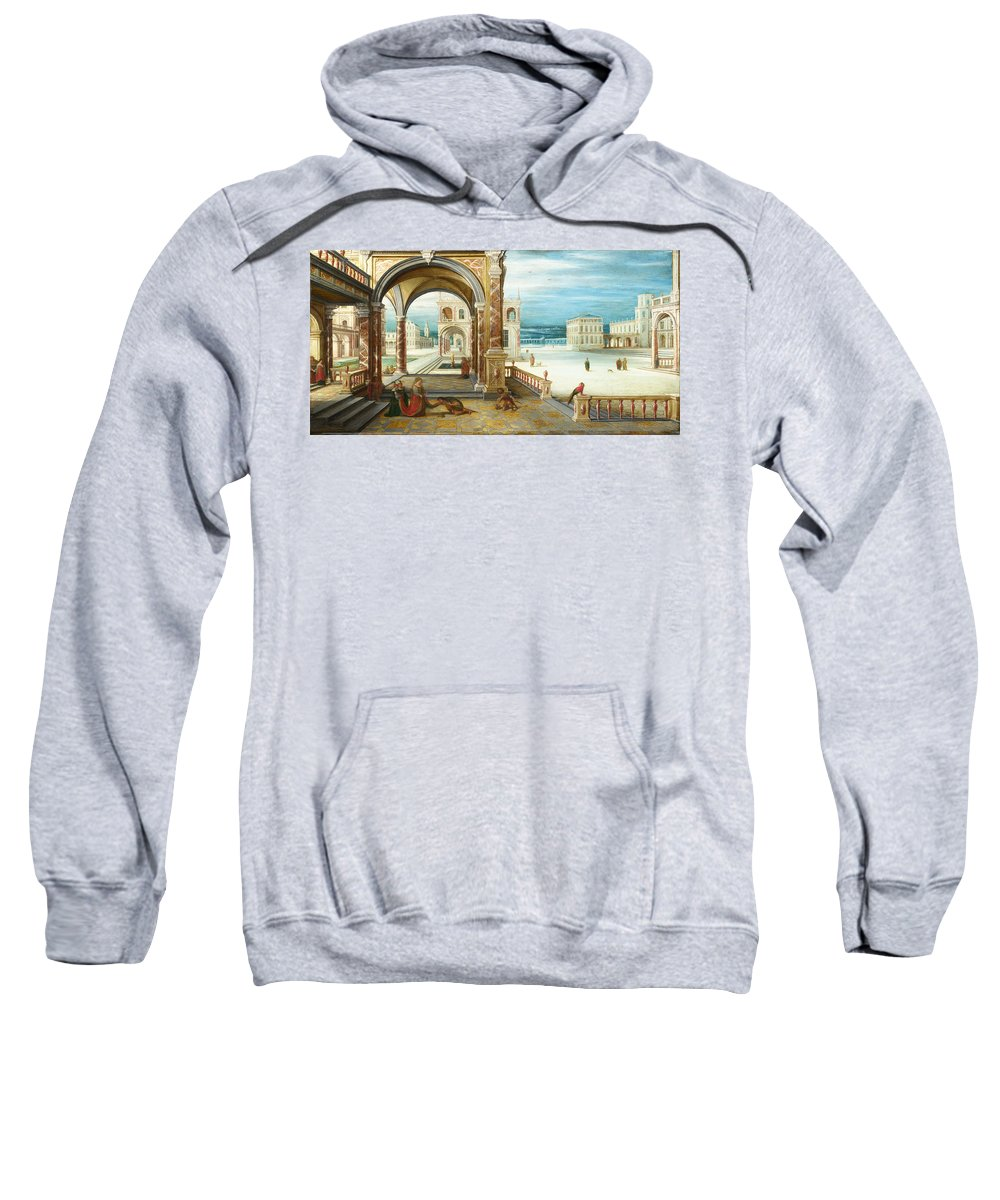 Hendrick Van Steenwijck The Younger Sweatshirt featuring the painting The Courtyard Of A Renaissance Palace by Hendrick van Steenwijck the Younger