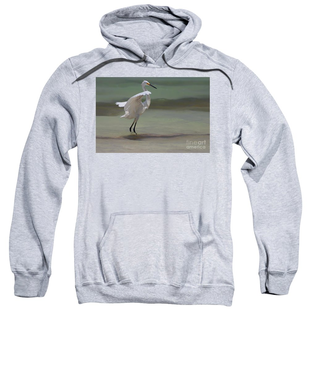 Egret Sweatshirt featuring the photograph The Dance by John Edwards