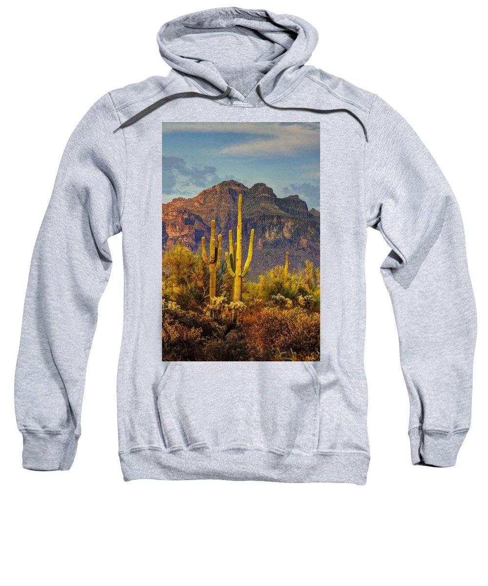 Sunset Sweatshirt featuring the photograph The Desert Golden Hour II by Saija Lehtonen