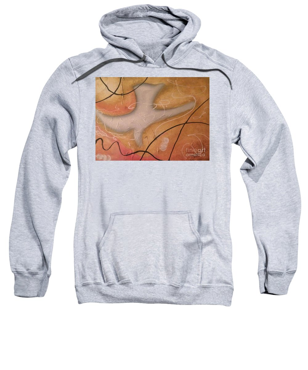 The Dove Sweatshirt featuring the painting The Dove Religious Abstract Art By Saribelle by Saribelle Rodriguez