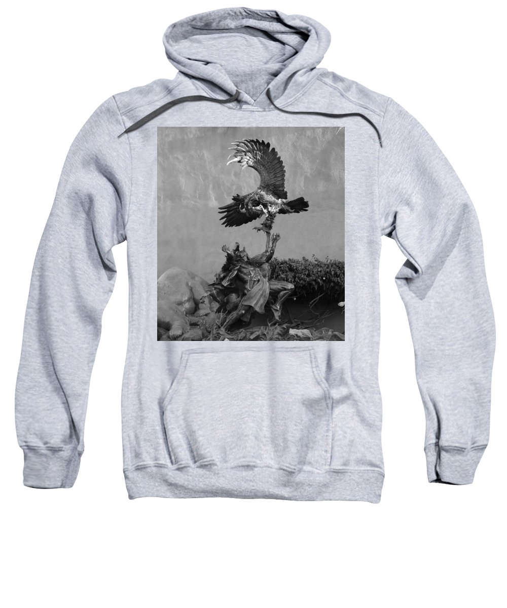 Eagle Sweatshirt featuring the photograph The Eagle And The Indian In Black And White by Rob Hans