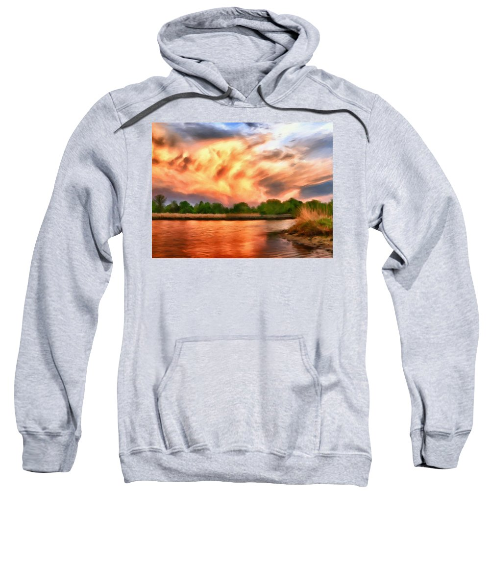 Eastern Shore Of Virginia Sweatshirt featuring the painting The Eastern Shore by Michael Pickett