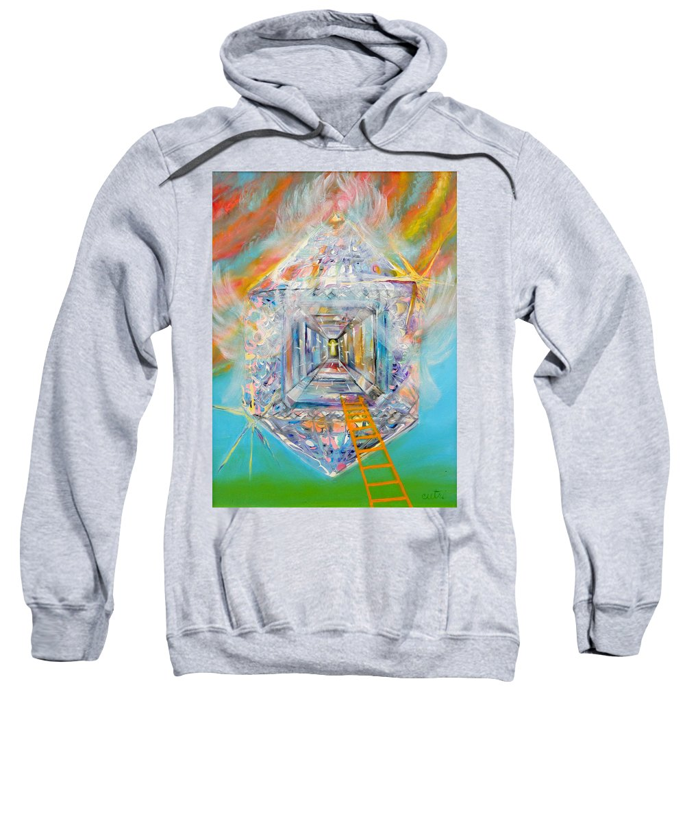 Biblical Sweatshirt featuring the painting The Fathers House by Anne Cameron Cutri