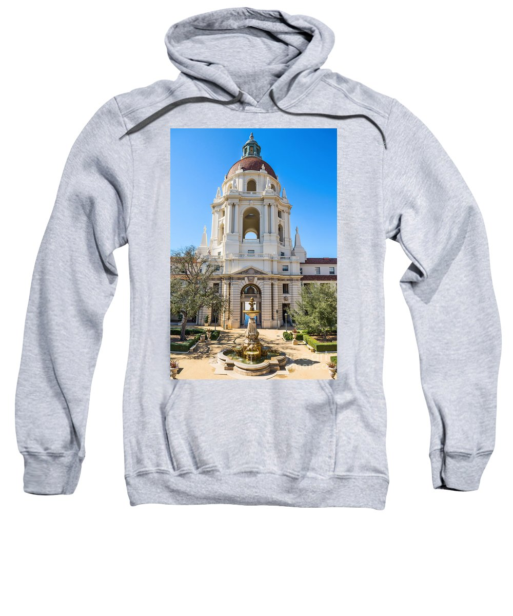 Pasadena City Hall Sweatshirt featuring the photograph The Fountain - The Beautiful Pasadena City Hall. by Jamie Pham