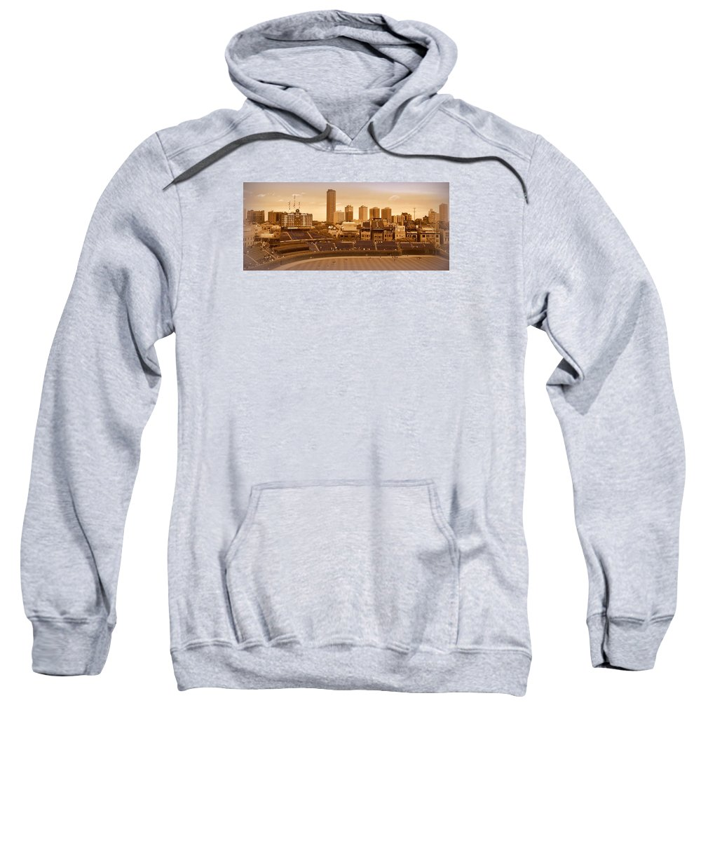 Wrigley Field Sweatshirt featuring the photograph The Friendly Confines by Toni Abdnour
