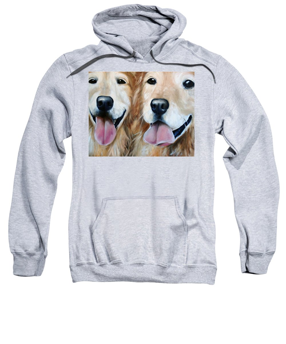 Golden Retriever Sweatshirt featuring the painting The Golden Years by Mary Sparrow