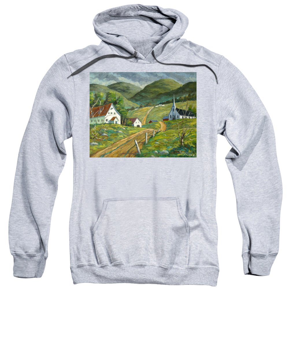 Hills Sweatshirt featuring the painting The Green Hills by Richard T Pranke