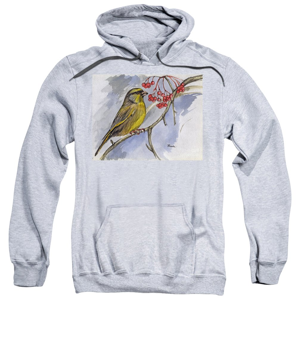 Greenfinch Sweatshirt featuring the painting The Greenfinch by Angel Ciesniarska