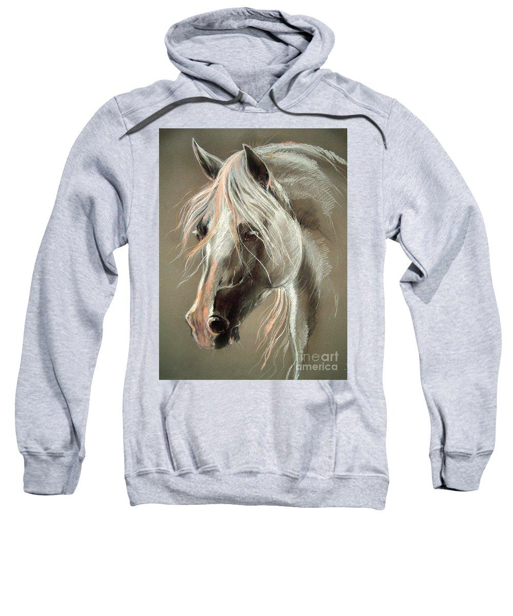 Pastel Sweatshirt featuring the drawing The Grey Horse Soft Pastel by Angel Ciesniarska