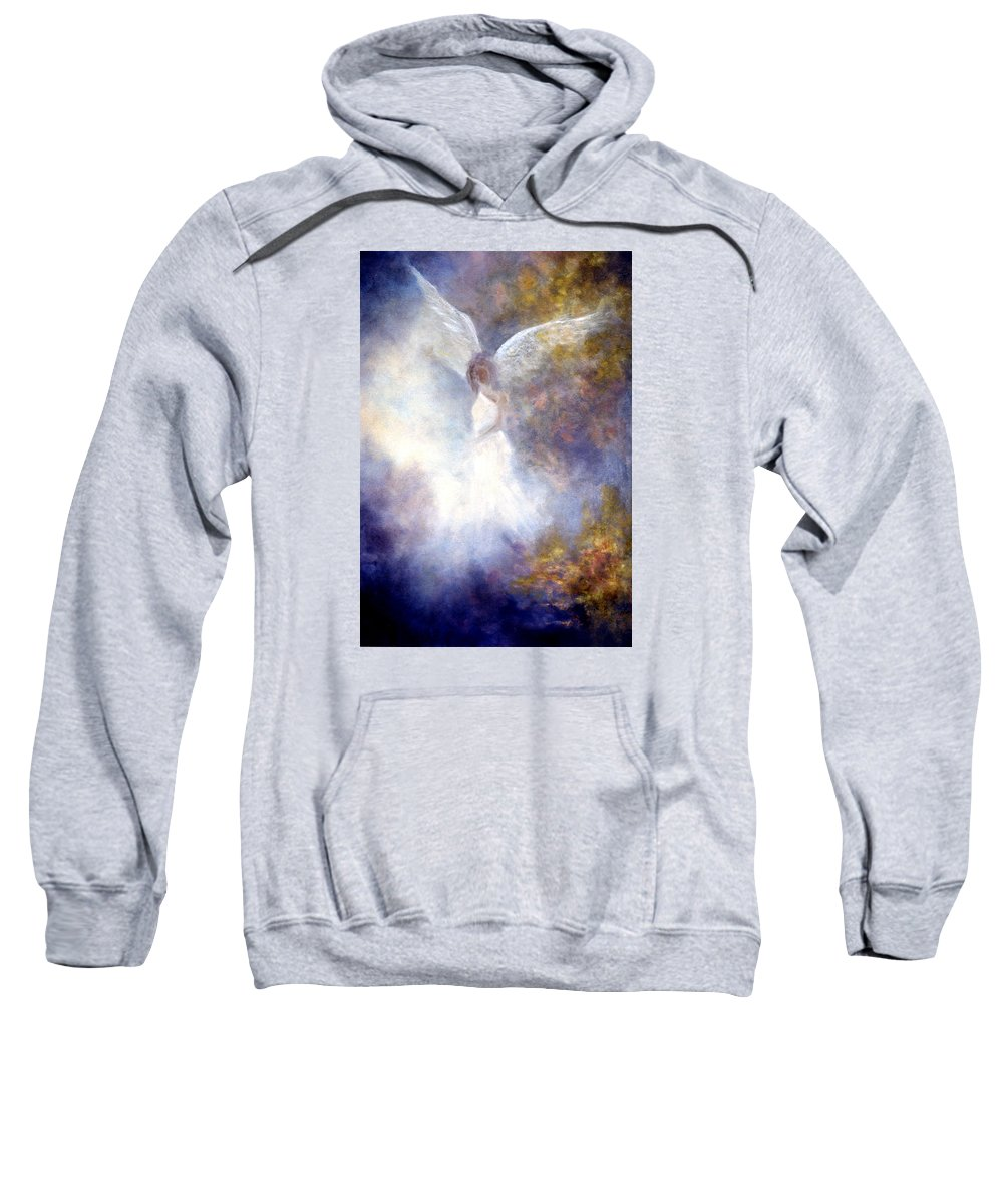 Angel Sweatshirt featuring the painting The Guardian by Marina Petro