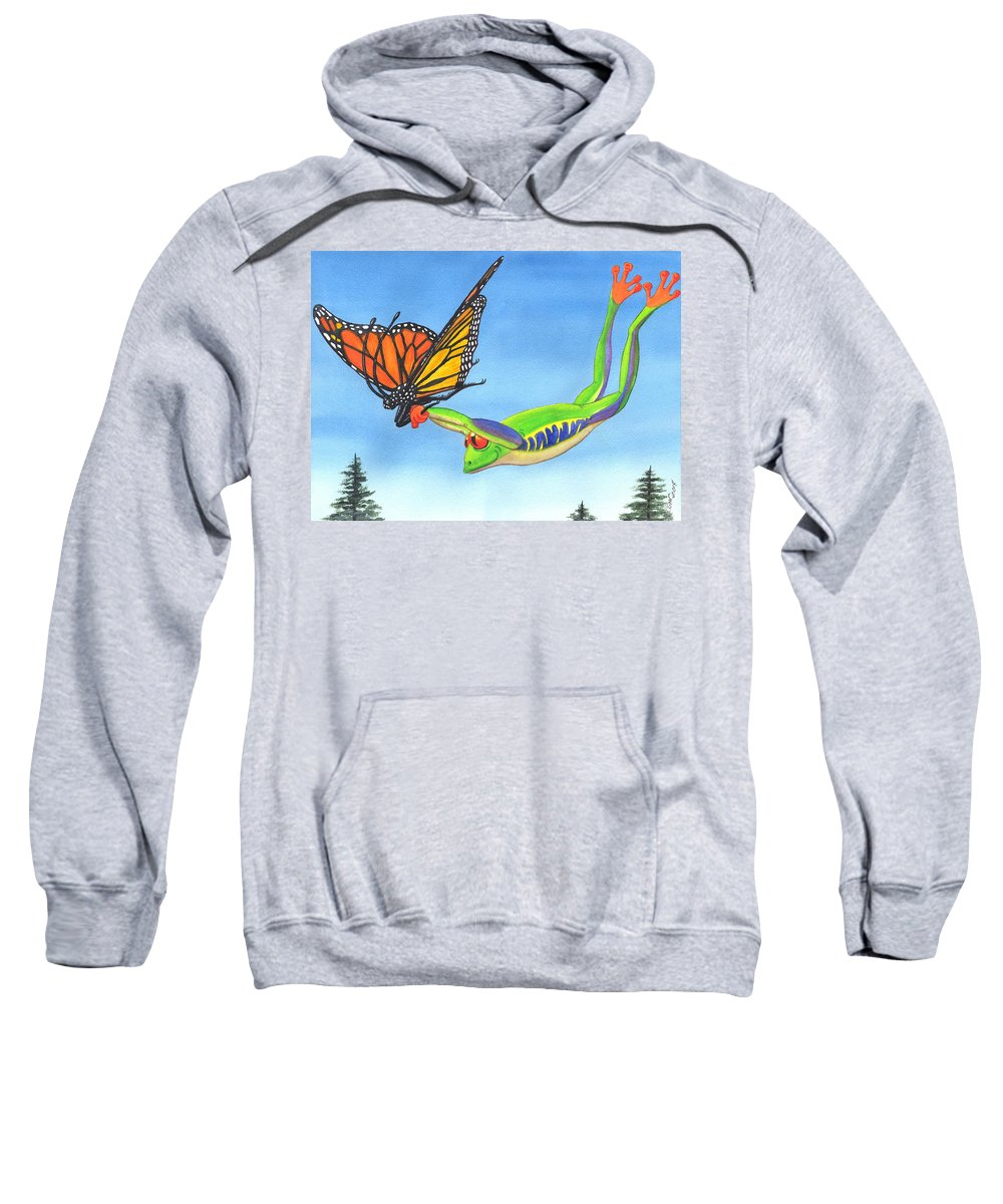 Frog Sweatshirt featuring the painting The Hang Glider by Catherine G McElroy