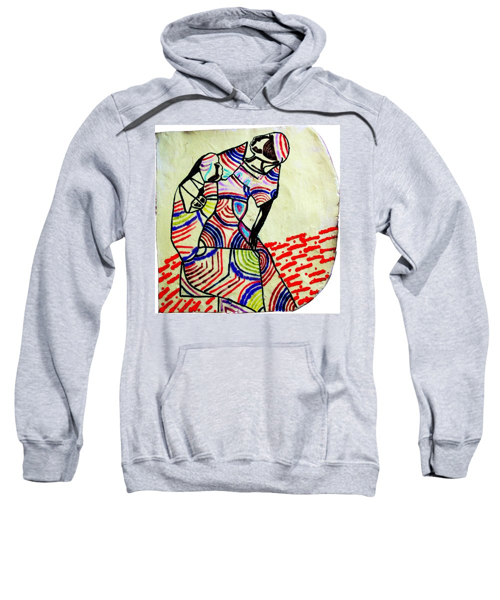 Jesus Sweatshirt featuring the ceramic art The Holy Family by Gloria Ssali