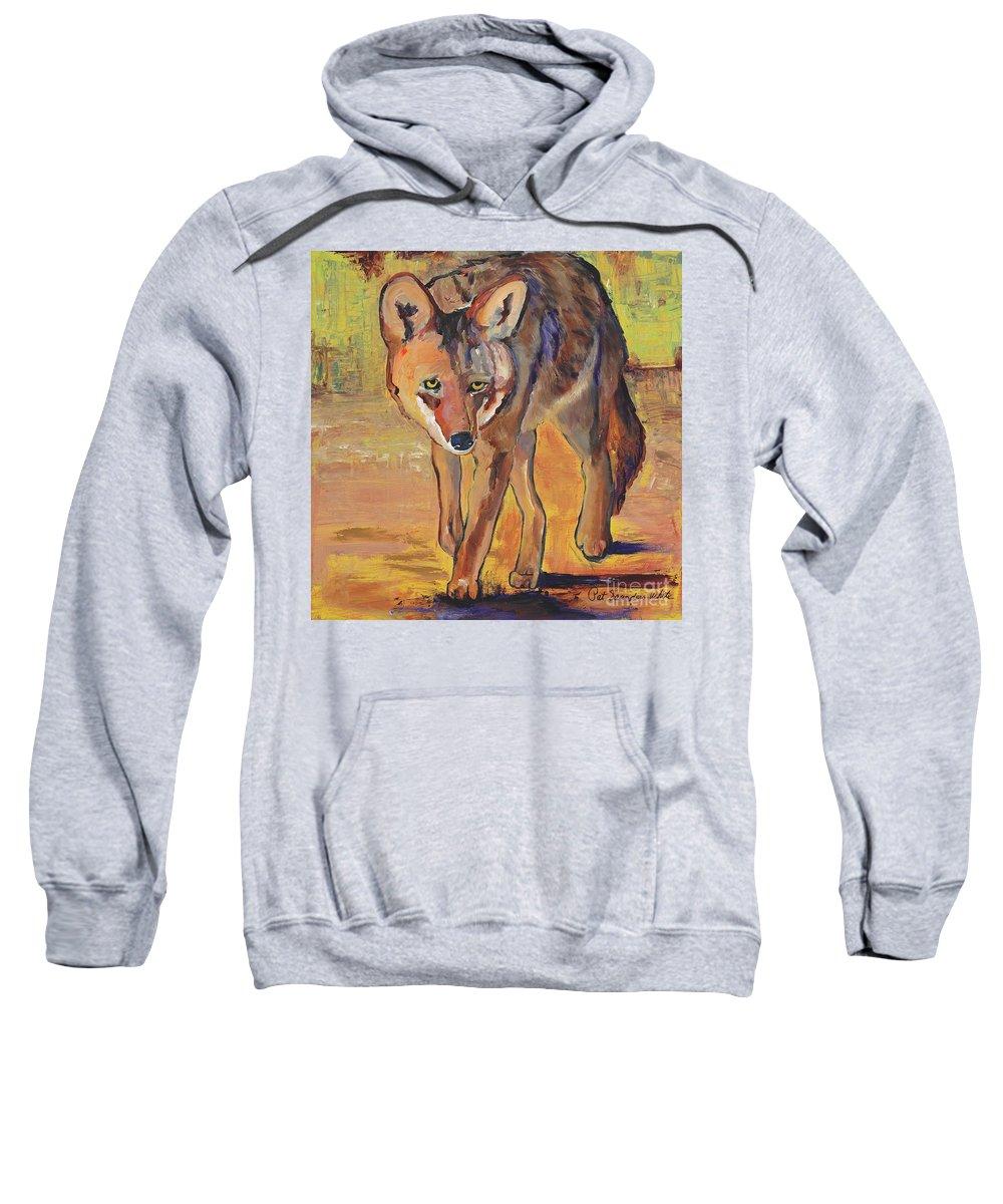 Pat Saunders-white Sweatshirt featuring the painting Coyote Hunting by Pat Saunders-White
