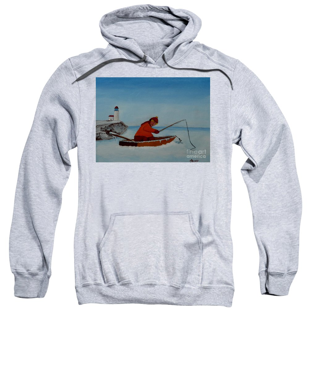 Stupid Sweatshirt featuring the painting The Ice Fisherman by Anthony Dunphy