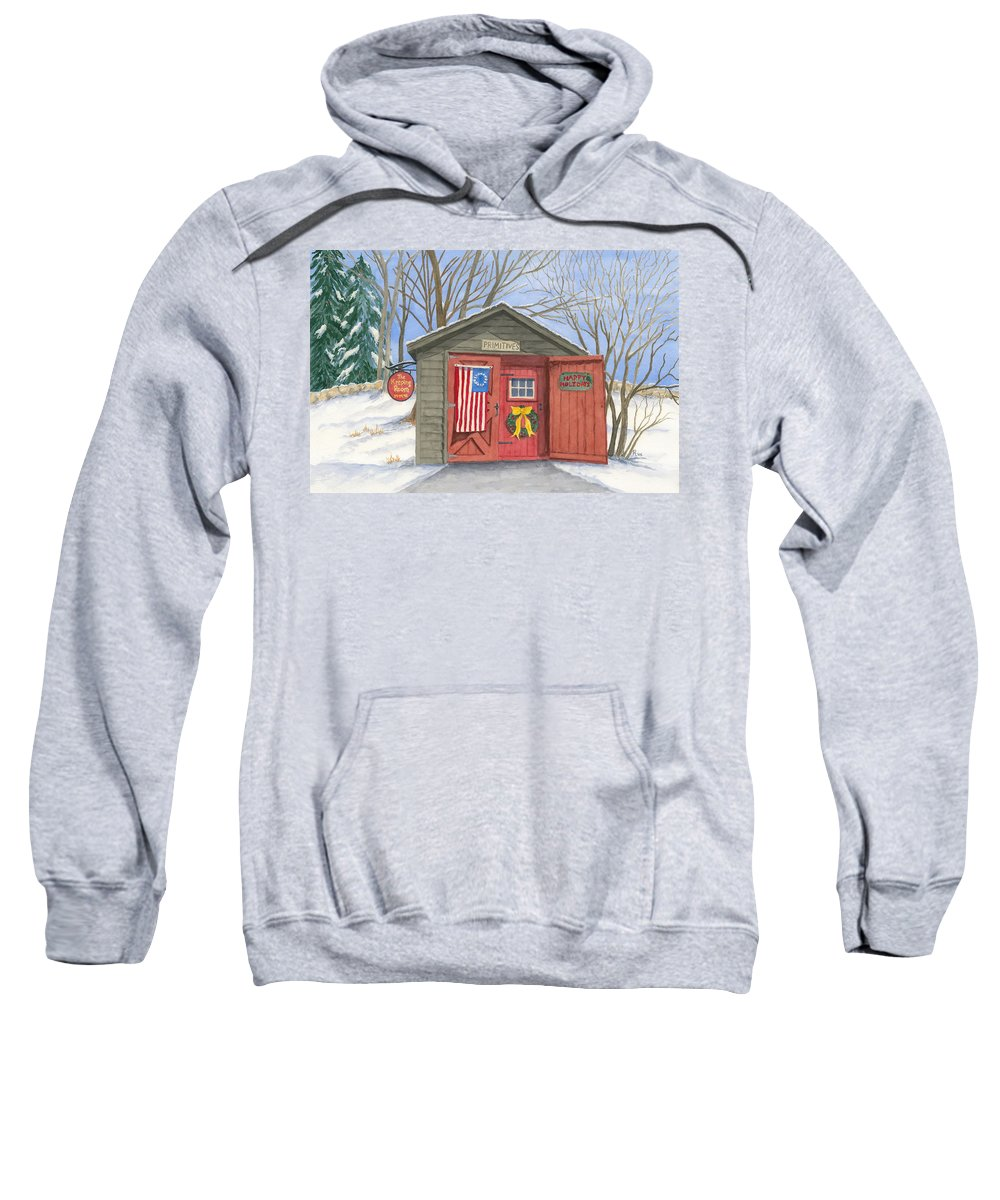 Barn Sweatshirt featuring the painting The Keeping Room by Rhonda Leonard