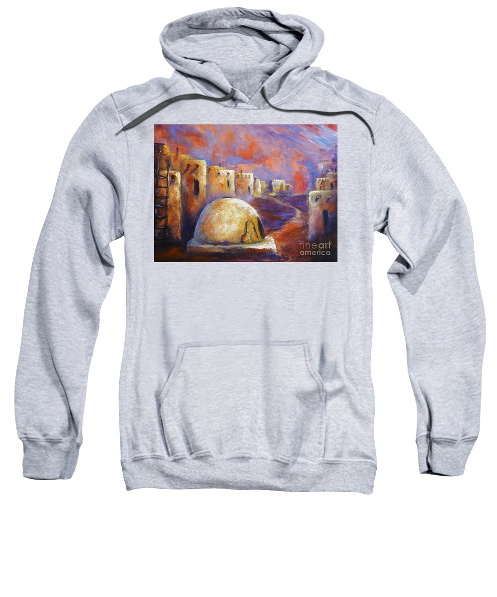 Southwest Art Sweatshirt featuring the painting The Horno At Acoma by Sharon Abbott-Furze