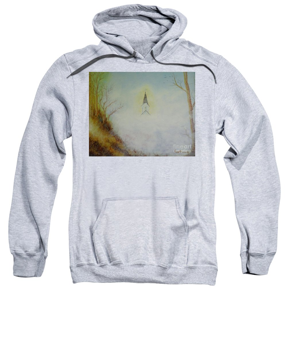 Church Sweatshirt featuring the painting The Little Chapel In The Valley by Gene Huebner