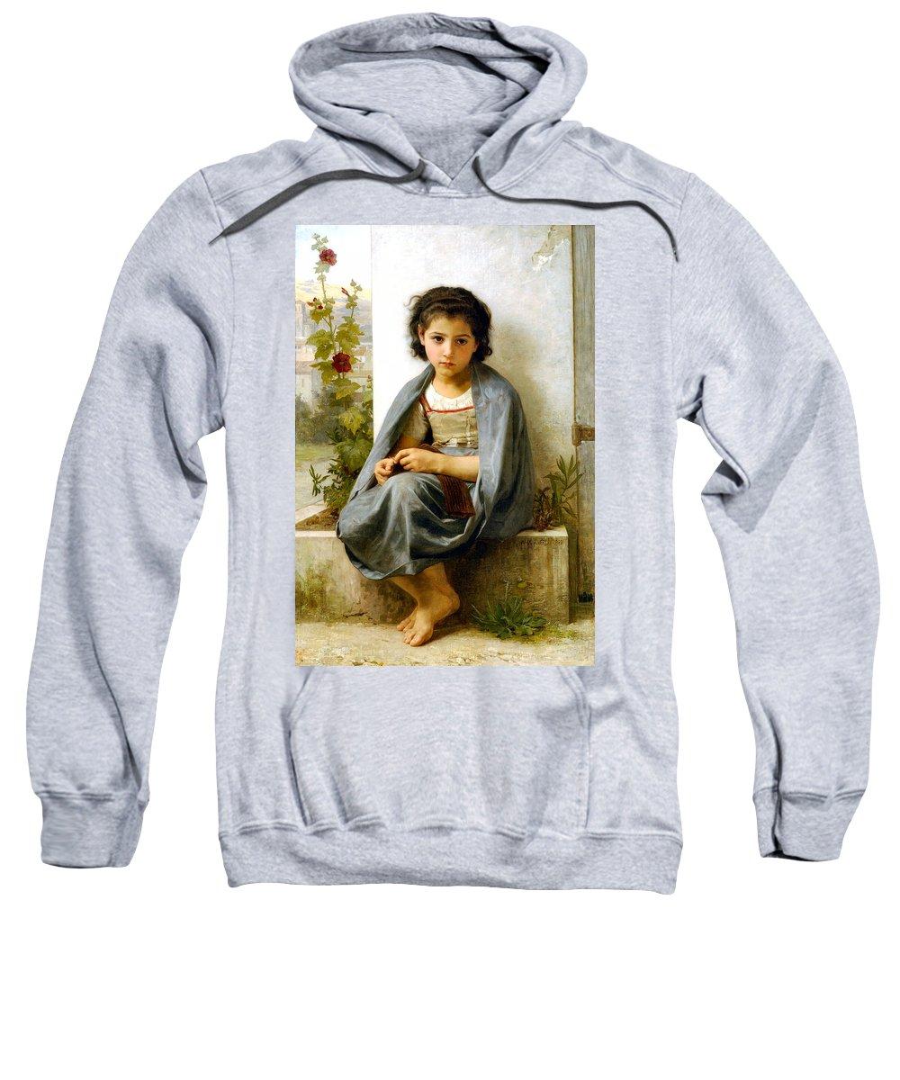 The Spinner Sweatshirt featuring the digital art The Little Knitter by William Bouguereau