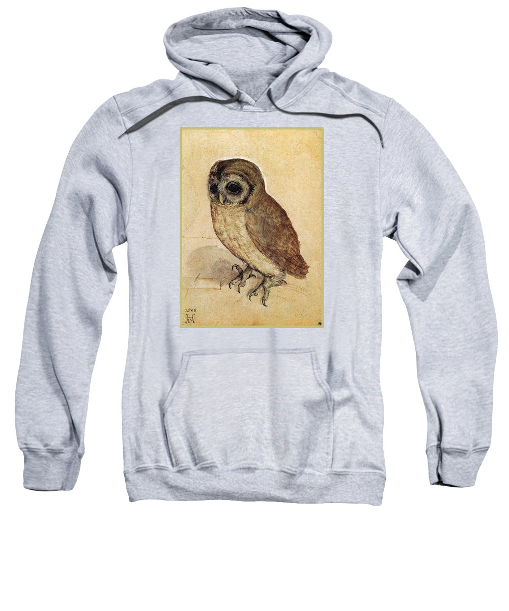 Durer Sweatshirt featuring the painting The Little Owl 1508 by Philip Ralley
