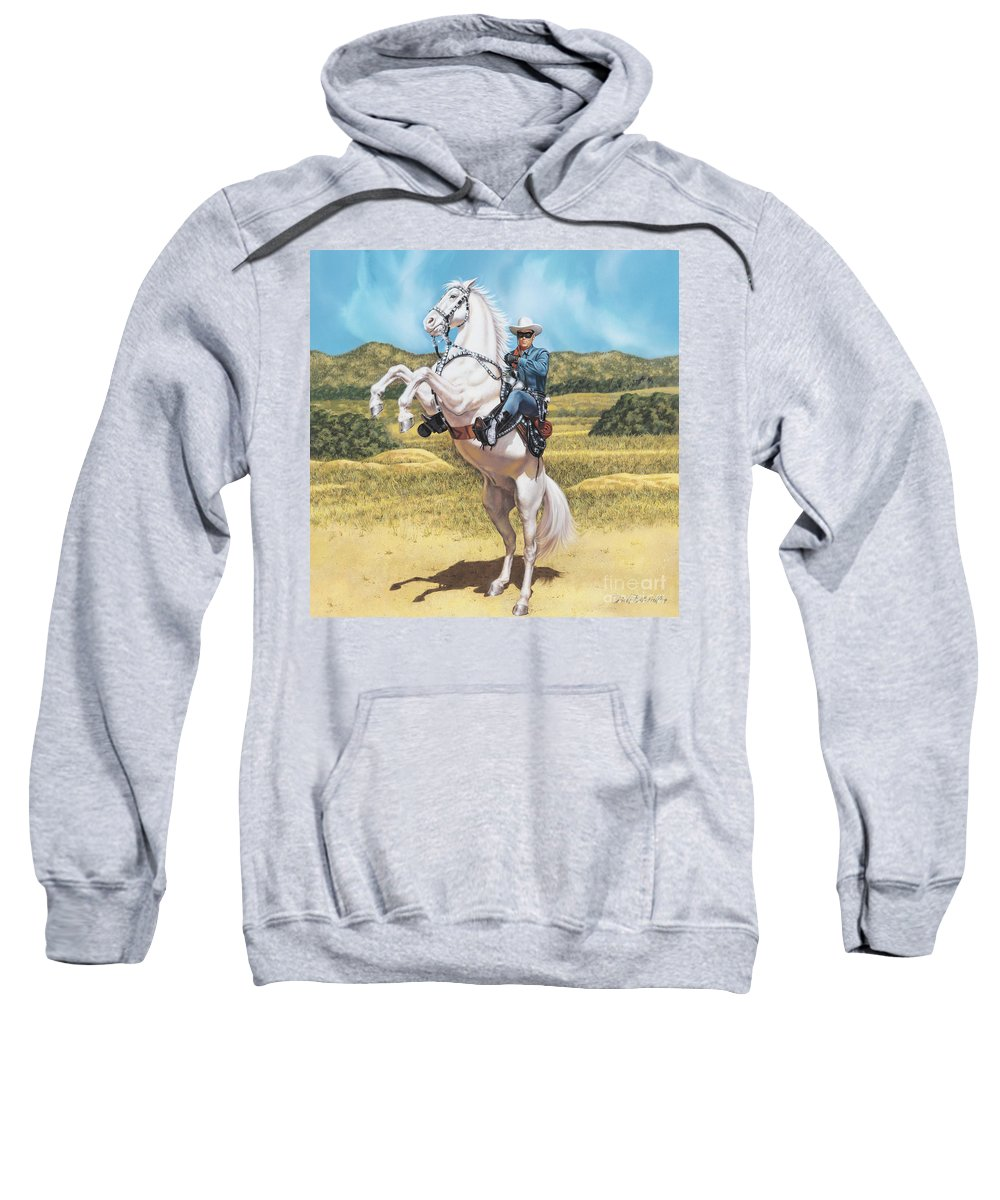 Portrait Sweatshirt featuring the painting The Lone Ranger by Dick Bobnick