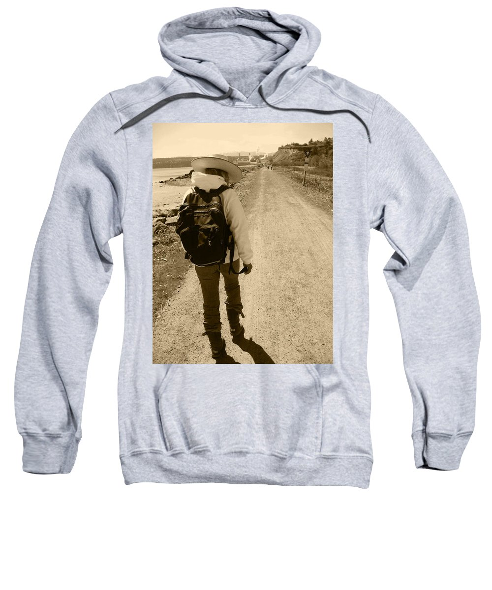 Lady Walking On A Long And Dusty Road Sweatshirt featuring the photograph The Long And Winding Road by Kym Backland