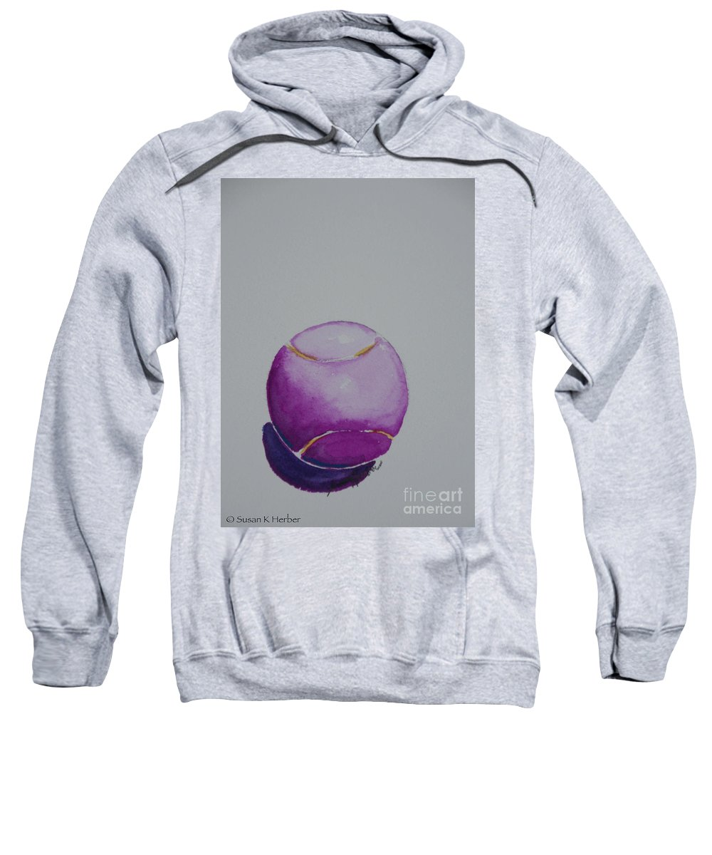Tennis Ball Sweatshirt featuring the painting The Magenta by Susan Herber