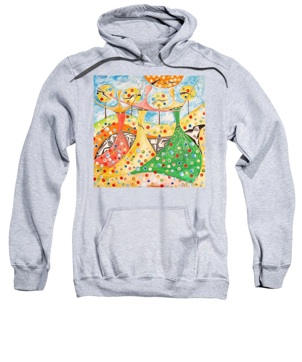 Abstraction Sweatshirt featuring the painting The Meadow 746 - Marucii by Marek Lutek