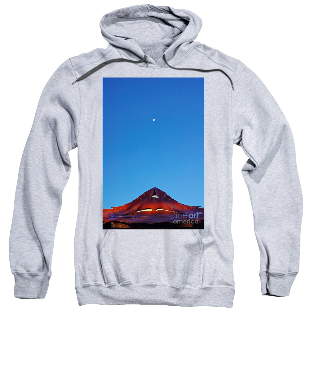 Moon Sweatshirt featuring the photograph The Moon The Roof And The Sky by Gary Richards