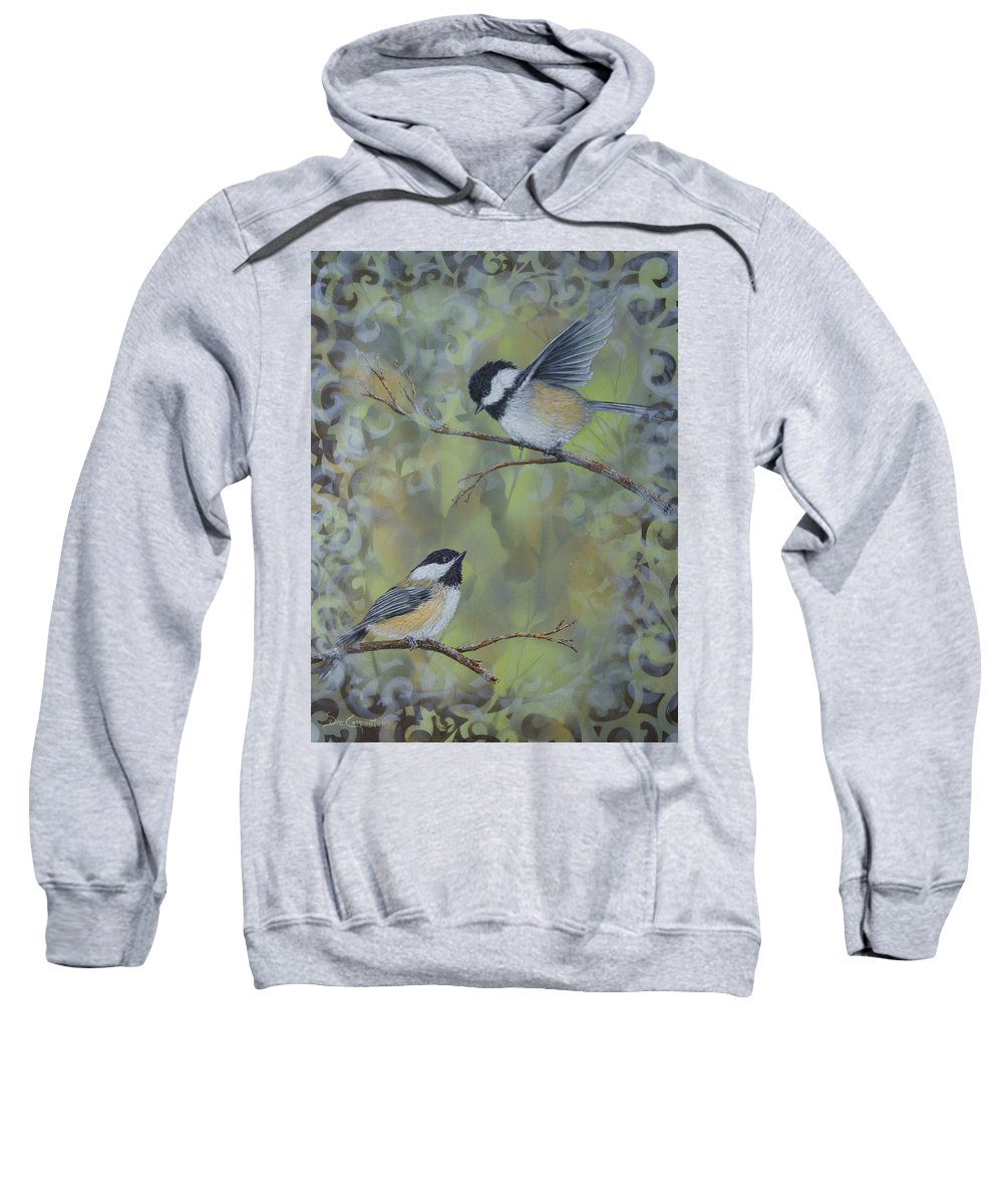 Chickadee Sweatshirt featuring the painting The Nature Of Innocence by Dee Carpenter