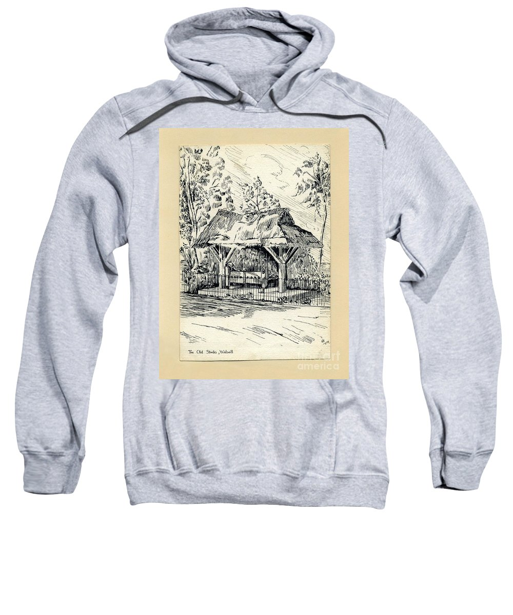 Stocks Sweatshirt featuring the drawing The Old Stocks Walsall by John Chatterley