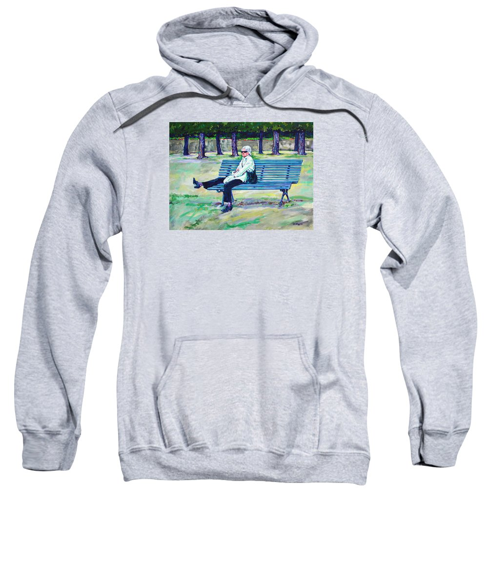 Park Sweatshirt featuring the painting The Park by Derrick Higgins