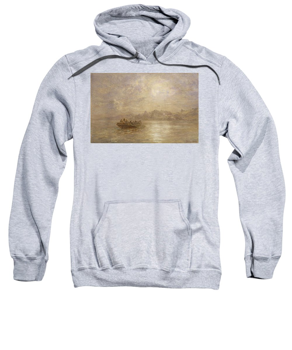 Dawn; Dusk; Fog; Mist; Sea; Coast; Coastal; Morning; Evening; Rowing Boat; Mountains; Cliffs; Crew; Shore; Atmospheric; Signal; Light; Nocturne Sweatshirt featuring the painting The Passing Of 1880 by Thomas Danby