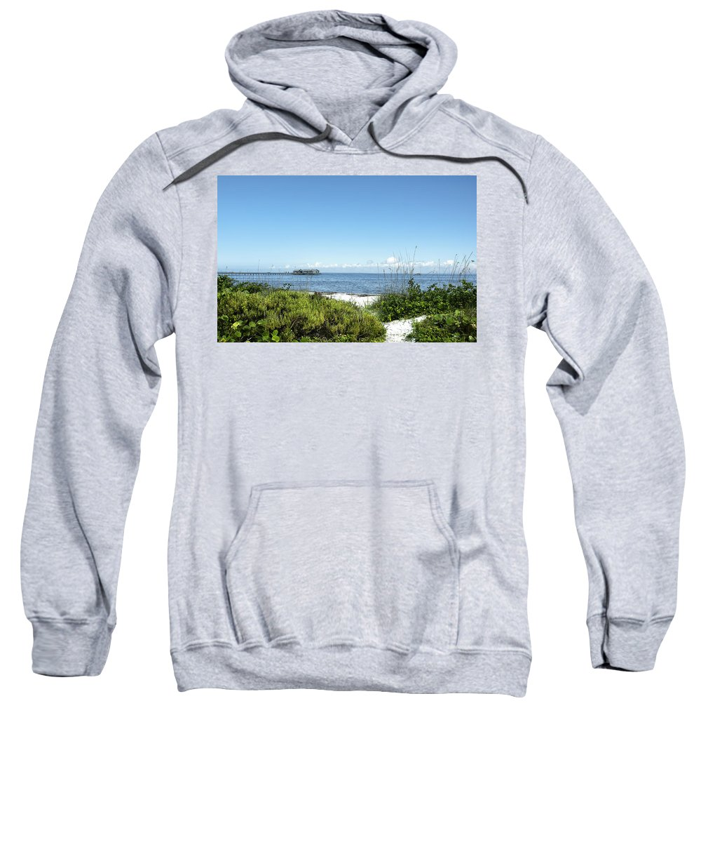 Seascape Sweatshirt featuring the photograph The Pier At Anna Maria by Norman Johnson