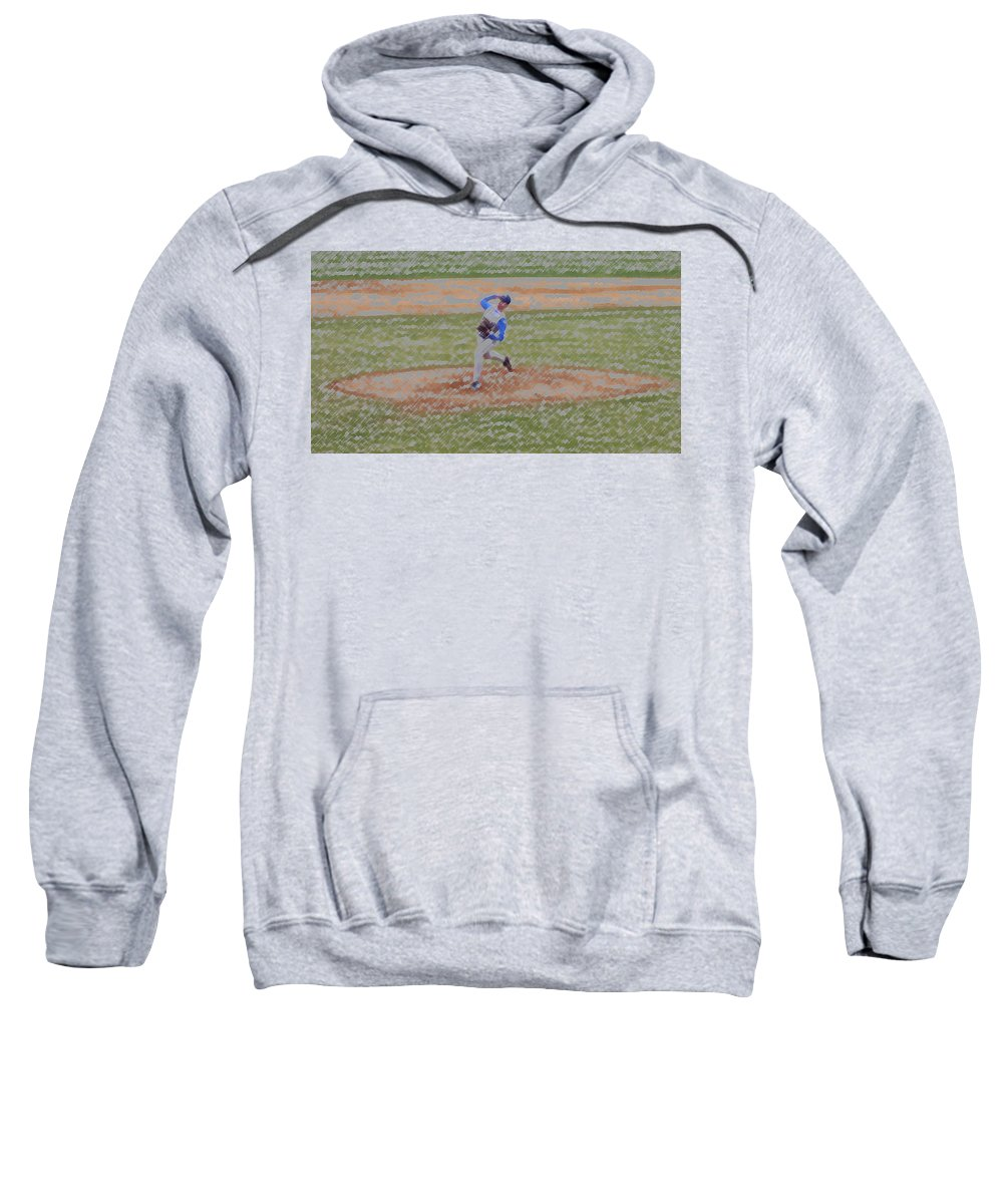 Sports Sweatshirt featuring the digital art The Pitcher Digital Art by Thomas Woolworth