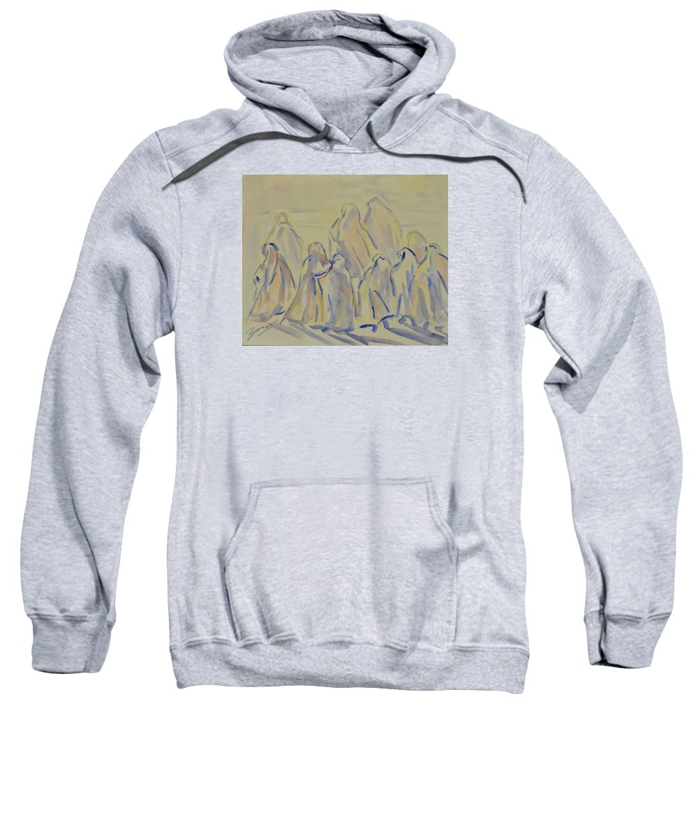 Muslim Sweatshirt featuring the painting The Prayers...ii by Xueling Zou
