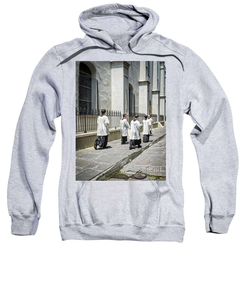 French Quarter Sweatshirt featuring the photograph The Procession Nola - Color by Kathleen K Parker